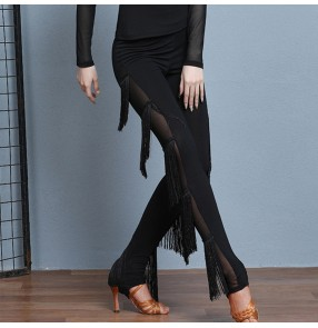 Women's fringes latin dance pants salsa chacha rumba latin dance tight leggings skinny trousers