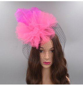Women's girls baby feather headdress samba dance feather headdress model show photos singers stage performance hair accessories