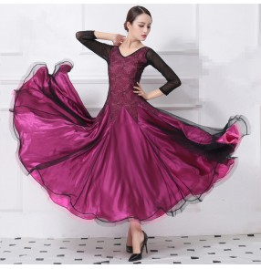 Women's girls ballroom dancing dresses fuchsia wine royal blue lace waltz tango dancing flamenco dresses for lady