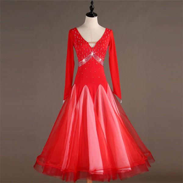 c1e61b4fe402 Women's girls ballroom dancing dresses stones competition girls female red  black waltz tango ballroom dance dresses