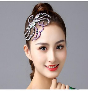 Women's girls ballroom latin competition dance rhinestones bling hair accessories stage performance diamond headdresses