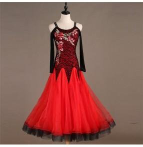 Women's girls ballroom waltz tango dance dresses flamenco stage performance ballroom dancing dresses