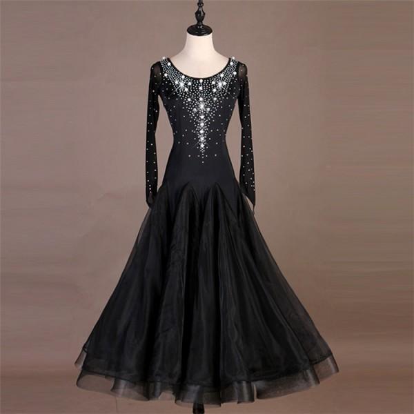 8ea81af98d1e Women's girls black ballroom dancing dress beads stones competition foxtrot  stage performance tango waltz dancing dresses