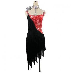 Women's girls black with red diamond competition fringes latin dance dress salsa dance dress