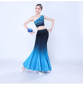 Women's girls blue gradient chinese folk dance costumes thailand style dai minority peacock dance costumes fishtail skirts group dance suits