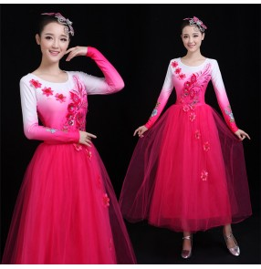 Women's girls chorus Chinese folk dance dress pink blue green colored flowers modern dance stage performance opening dance dresses
