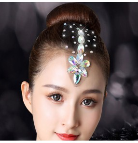 Women's girls competition ballroom latin dance bling rhinestone hair accessories headdress