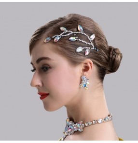 Women's girls competition ballroom latin dance bling rhinestones headdress stage performance hair accessories