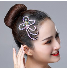 Women's girls competition ballroom latin salsa stage performance diamond headdress rhinestones hair clip headdress