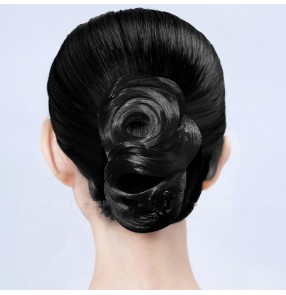 Women's girls competition latin ballroom dance hair buns hair accessories stage performance competition wig headdress
