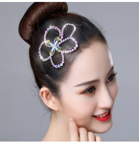 Women's girls competition latin ballroom dance rhinestones headdress hair accessories diamond hair clip hair accessories