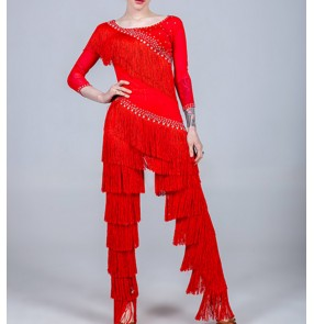 Women's girls competition tassels latin dance costumes stage performance rumba chacha salsa dance tops and tassels pants