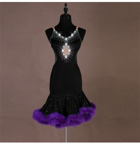 Women's girls feather latin dance dresses violet red with black rhinestones competition latin salsa rumba chacha dance dresses skirts