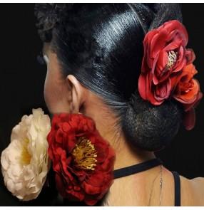 Women's girls flamenco Paso Doble rose flowers ballroom waltz latin dance stage performance flowers