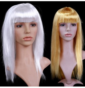 Women's girls gold silver wig stage performance halloween party cosplay blond long length wig for carnival dancers event
