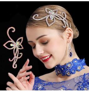 Women's girls handmade rhinestones headdress for competition ballroom latin dance hair accessories