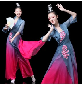Women's girls hanfu pink with gray colored chinese ancient classical dance fairy dresses umbrella fan dance dresses stage performance drama cosplay kimono dress