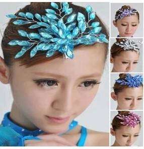 Women's girls latin ballroom dance stage performance crystal headdress hair accessories