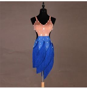 Women's girls latin dance dresses handmade beads competition stage performance latin rumba chacha salsa dance dresses