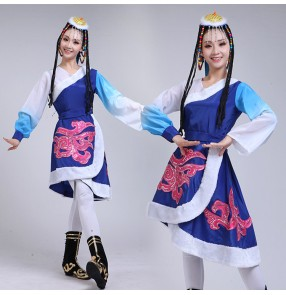 Women's girls Mongolian dance costumes Chinese Mongolia traditional stage performance minority cosplay robes clothes