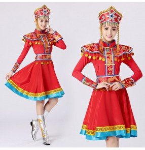 Women's girls Mongolian dance costumes Chinese traditional Mongolia minority folk dance robes dresses with headdress