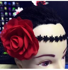 Women's girls paso double dance latin ballroom dance headband rose flowers stage performance dance hair accessories