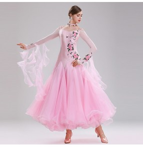 Women's girls pink mint red embroidered rose diamond competition ballroom dancing dresses waltz flamenco tango dance dresses
