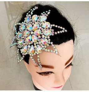 Women's girls  professional latin ballroom dance competiiton crystal diamond headdress hair accessories