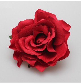 women 's girls Red rose flamernco dance headdress head flowers bull spanish ballroom waltz tango  dancing hair clip