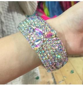 Women's girls rhinestones professional latin ballroom waltz tango dance bangles bracelets 6.1cm in diameter