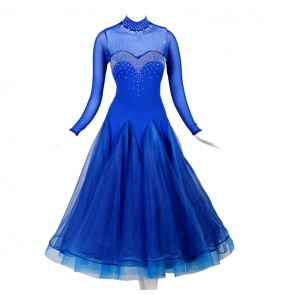 Women's girls royal blue ballroom dancing dresses waltz tango dance dress
