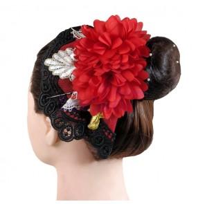 Women's girls Spanish flamenco drama cosplay hair accessories latin dance red head flowers hair piece
