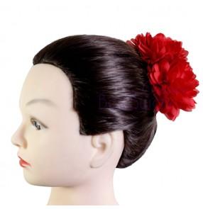 Women's girls Spanish folk dance flamenco headdress latin dance cosplay red head flowers hair accessories