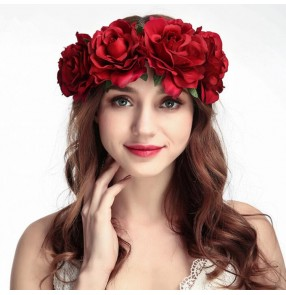 Women's girls stage performance latin ballroom dance rose headdress hair accessories brides photos drama cosplay hair band