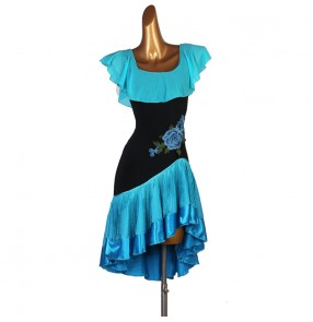 Women's girls turquoise fringes latin dance dress modern dance rhythem salsa chacha dance dresses
