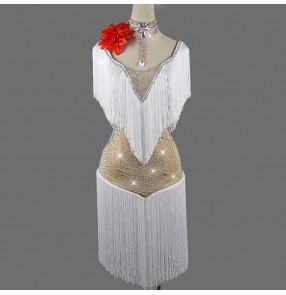 Women's girls white with flesh diamond competition latin dance dresses