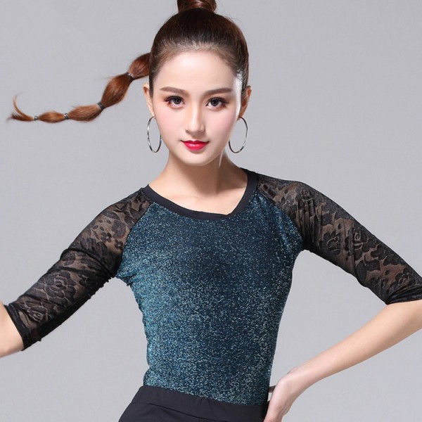 bd407cd7045fcd Women's glitter lace ballroom latin dance tops stage performance rumba chacha  salsa samba dance shirts