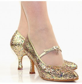 Women's gold rainbow sequin ballroom latin competition dance shoes soft cow leather sole stage performance rumba chacha flamenco dance shoes
