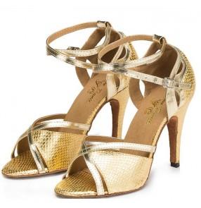 Women's gold royal blue ballroom latin dance shoes soft cow leather sole 7.5cm heel