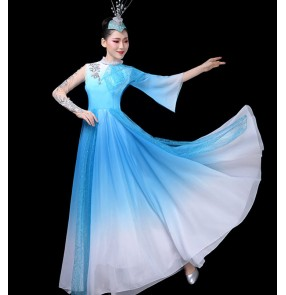 Women's green blue gradient modern dance choir dresses stage performance singers chorus group dancers performance dress