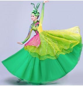 Women's green opening dance dresses ballroom dresses host singers choir stage performance dresses