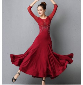 Women's grey blue wine diamond ballroom dancing dresses competition foxtrot waltz tango dance dress for female