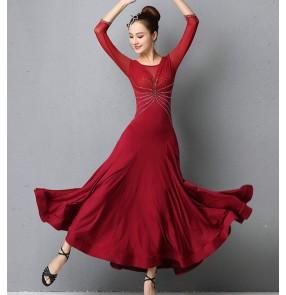 Women's grey blue wine diamond ballroom dancing dresses competition foxtrot waltz tango dance dress for female