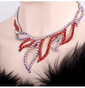 Women's handmade crystal Czech diamond necklace stage performance competition ballroom waltz tango choker necklace