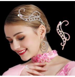 Women's handmade rhinestones headdress for competiiton ballroom latin dance