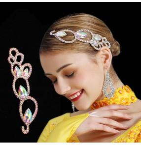 Women's handmade rhinestones headdress for competition ballroom latin dance hair accessories