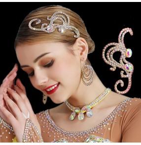 Women's handmade rhinestones headdress for competition latin ballroom dance hair accessories