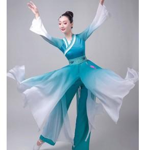 Women's hanfu blue gradient colored chinese folk dance costumes ancient traditional yangko kimono dresses fairy dresses  costumes