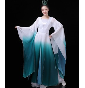 Women's hanfu pink green gradient colored fairy cosplay korean japanese dresse chinese folk dance costumes ancient classical dance dresses