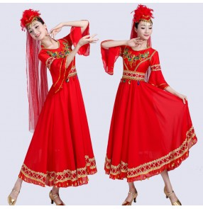 Women's indian belly dance dresses xinjiang chinese minority stage performance cosplay dresses